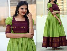 Handloom cotton gown in fresh combination with puff sleeves ! *Size is customisable as per your measurements Kindly whatsapp @ 7995038888 for enquiries ! Long Dress Design, Dress Neck Designs, Fancy Blouse Designs, Long Gown Dress, Sari Dress, Long Frock, Salwar Dress, Frock Dress, Long Gowns