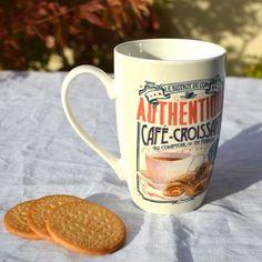 Taza Café Croissant.Taza de desayuno de cerámica Mugs, Tableware, Breakfast Bowls, Counter Top, Dinnerware, Tumbler, Tablewares, Mug, Place Settings