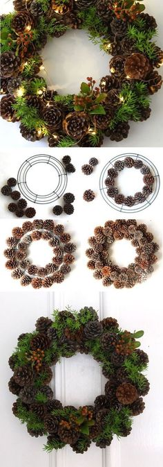 Make use of the abundance of pine cones in… Beautiful pine cone Christmas wreath. Make use of the abundance of pine cones in the Christmas season and make them into beautiful wreaths just like this. Pine Cone Crafts, Xmas Crafts, Noel Christmas, Christmas Ornaments, Outdoor Christmas, Christmas Ideas, Christmas Design, Christmas Crafts With Pinecones, Amazon Christmas