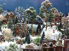 Further view of the finished Christmas village display stand