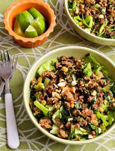 This Thai-Inspired Ground Turkey Larb Salad also has Sriracha, Mint, Cilantro, and Peanuts, and this delicious salad with Thai flavors is low-carb, low-glycemic, gluten-free, and can be Keto and South Beach Diet friendly with approved sweetener.Use theDiet-Type Indexto find more recipes like this one. Click here to PIN this tasty Thai salad so you can…