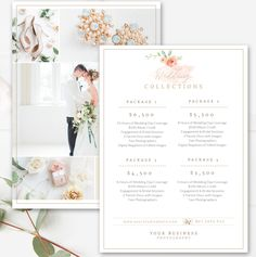 Photography Price List Template, Wedding Price Sheet, Photographer Pricing  Guide, 7x5 PSD Template