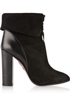 Aquazzura Cambridge leather-paneled suede ankle boots | NET-A-PORTER