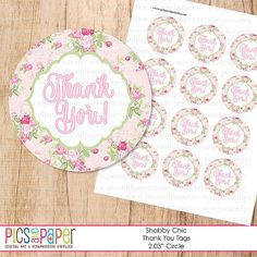 Shabby Chic Theme Round Thank You Tags- Use for a baby shower, birthday, retirement- PRintable file