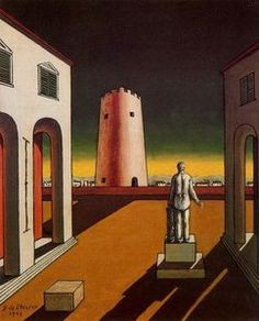 italien `plaza` avec un rouge tour - (Giorgio De Chirico)