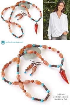 This carnelian horn pendant necklace features striking jasper gemstones with copper details. Pick up this handcrafted boho chic set from our online store today.