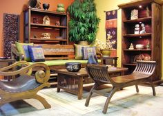 Bright and Colourful living room with indonesian Furntiures