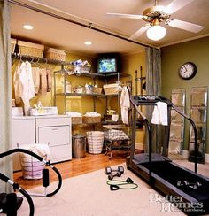 Basement Laundry Room Design Ideas for Small Basement - Smart Design Ideas to Steal for Small Laundry Rooms. This little basement laundry room from Style at Home has everything you need. Laundry Room Remodel, Laundry Room Organization, Laundry Room Design, Laundry Area, Laundry Rooms, Laundry Storage, Laundry Tips, Basement Gym, Basement Remodeling