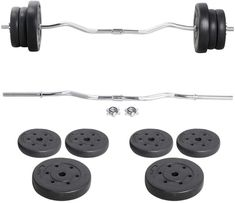 Amazing offer on Yaheetech Barbell Weight Set - Olympic Curl Bar & 6 Olympic Weights & 2 Olympic Barbell Clamps Lifts online - Toplikeclothes Strength Training Equipment, Strength Workout, No Equipment Workout, Barbell Weights, Olympic Weights, Bar Workout, Weight Benches, Weight Set