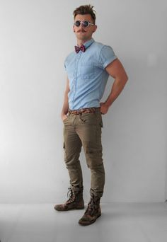 hipster HOT mens fashion style, denim shirt boots green pants tucked in