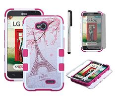 LG ULTIMATE 2 / LG REALM / LG L70 / LG OPTIMUS EXCEED 2 Slim Fit Hybrid Triple Layer Tuff Verge Merge Shield Heavy Duty Hard Cover Fitted Skin Case Protector + Clear LCD Screen Protector Shield Guard + Touch Screen Stylus Pen (Eiffel Paris I'm in love) LuckyPhone http://www.amazon.com/dp/B00RBG66J0/ref=cm_sw_r_pi_dp_PTd2ub184BP5G