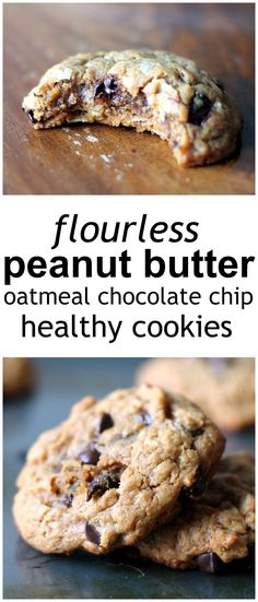 Eat Healthy Thick, chewy peanut butter oatmeal chocolate chip cookies made without butter or flour. - Thick, chewy peanut butter oatmeal chocolate chip cookies -- these gluten free cookies are flourless and full of peanut butter flavor! Healthy Cookies, Healthy Sweets, Healthy Baking, Healthy Snacks, Healthy Recipes, Diet Recipes, Breakfast Healthy, Breakfast Ideas, Cookies Vegan
