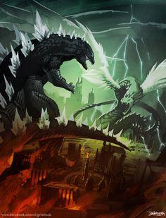 Godzilla vs Quetzalcoatl by el-grimlock.deviantart.com on @deviantART