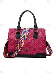 Letter Colored Strap Weaving Handbag