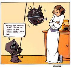 Leia and Kylo (Calvin and Hobbes and Star Wars mashup) - by Brian Kesinger - #1