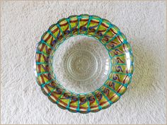 Glass BOWL #etsy #etsycom || #vitrage #stainedglass #glassware || #homedecor #decor || #gift #giftidea