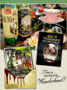 ALICE in WONDERLAND Party Murder Mystery Game. Vintage style look,  book lets, clues,  Dowwnload now..art