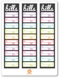 Bill Tracker Monthly Sidebar (3) Planner Stickers
