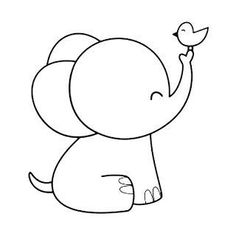 Cute Easy Drawings, Art Drawings For Kids, Animal Drawings, Outline Drawings, Hand Embroidery Patterns, Diy Embroidery, Applique Patterns, Easy Elephant Drawing, Elephant Drawings