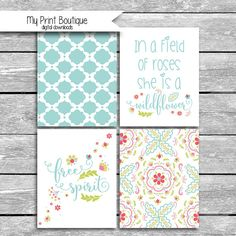 Set Of 4 8x10 Digital Downloads Coordinates With Peanut Shell Mila Crib Bedding - In A Field Of Roses She Is A Wildflower Free Spirit Quotes