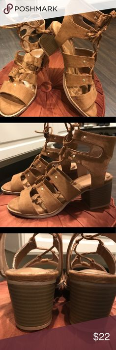 NEW Sz. 7 Old Navy gladiator sandals in cognac. New, never worn tie up sandals by Old Navy. Size 7. (But I'm a 7 1/2 and they were fine) in cognac brown!! Perfect for summer and fall fashions! Old Navy Shoes