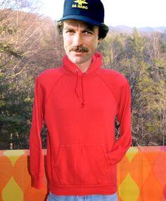 vintage 70s hoodie sweatshirt RED plain raglan hoody by skippyhaha, $29.00