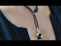How to Make a Beaded Leather Lariat Necklace. Leather jewelry is really on trend; in this video I show you an easy lesson on how to make a Beaded Leather Lariat Necklace. Items used: Leather Cord 1 Large Silver Jump Ring 2 Small Jump Rings 2 Black onyx Leather Pearl Choker, Leather Necklace, Leather Jewelry, Gold Jewelry, Amber Jewelry, Jewellery Box, Pearl Jewelry, Diy Jewelry Necklace, Lace Necklace
