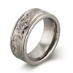 Engravable Handcrafted Heirloom Design Engraved Titanium Ring   Eve's Addiction®