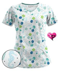 Print Scrub Tops for Women: Large Selection and Discount Pricing by UA Navy Blue Scrubs, White Scrubs, Scrubs Outfit, Scrubs Uniform, Uniform Advantage, Navy Color, Scrub Tops, Ua, Black Print