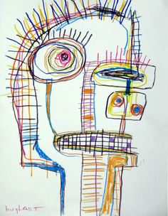 original HUGHART abstract outsider lowbrow punk folk art painting - PRODUCE MAN #OutsiderArt