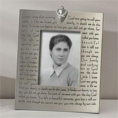 The beloved Broken Chain sympathy poem on a photo frame.