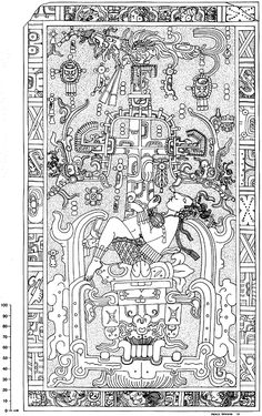 """""""Pacal the Great"""", ruler of Palenque funerary image"""