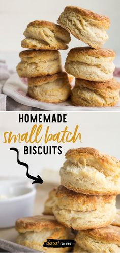 Love small batch baking? This easy bread recipe is always a welcome addition anytime! Not only are these all-butter homemade biscuits the lightest and fluffiest, but they also have a mega-rise and a golden brown top. Perfection! Enjoy them as a breakfast idea for two! Real Cooking, Cooking For Two, Homemade Biscuits, Buttermilk Biscuits, Healthy Breakfast Recipes, Brunch Recipes, Small Batch Baking, Wheat Bread Recipe, Breakfast For Dinner