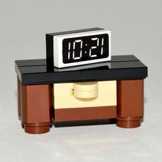 LEGO Furniture: Large Bedroom Nightstand w/ Clock [minifigure,set,design,kit] #LEGO