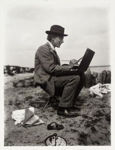 Photograph of Roger Fry painting
