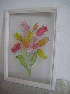 ハンドメイド ステンドグラス風フレーム チューリップ(大) Handmade interior goods ¥1500円 〆03月25日