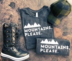 Unisex Mountains, Please. Tri-Blend Charcoal Grey Tee-Free Ship