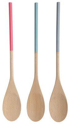 Cuillère de cuisine Colours en bois / Set de 3 Rose, bleu et gris - House Doctor