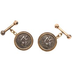 Roman Coin Gold Cufflinks | From a unique collection of vintage cufflinks at https://www.1stdibs.com/jewelry/cufflinks/cufflinks/