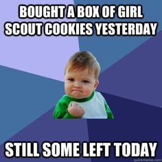 bought a box of girl scout cookies yesterday still some left - Success Kid