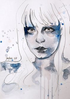 Faces of persephone iii - Watercolor Portraiture Paintings by Jane Beata  <3 <3