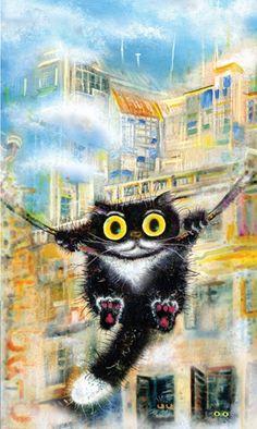 "Cat painting ""Russian-Italian swing"". Artist Boris Kasynov | ""Русско-итальянские качели"". Художник Борик Касьянов"