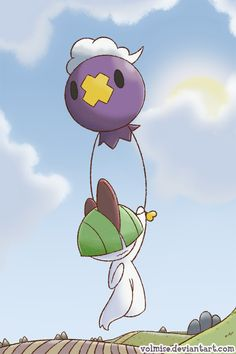 Balloon Ride by Volmise.deviantart.com on @deviantART (Drifloon & Ralts)