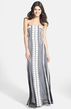 BCBGMAXAZRIA 'Kia' Lace & Print Strapless Maxi Dress available at #Nordstrom