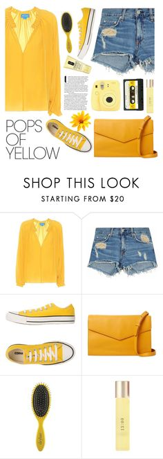 """Yellow"" by newmariaph ❤ liked on Polyvore featuring M.i.h Jeans, rag & bone/JEAN, Converse, Steven Alan, Drybar, UKA, Clinique, Fujifilm, PopsOfYellow and NYFWYellow"