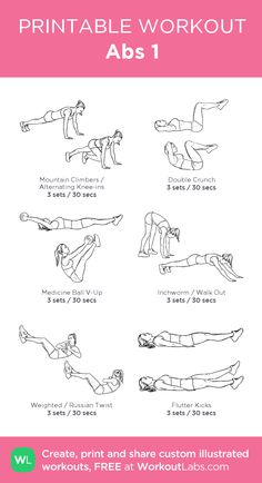 Abs 1: my visual workout created at WorkoutLabs.com • Click through to customize and download as a FREE PDF! #customworkout