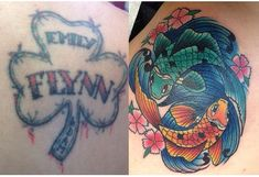 These tattoo cover ups are amazing. They're definitely more striking and beautiful than the original tattoos they're covering. But everybody knows tattoos a Old Tattoos, Cover Up Tattoos, Koi Fish Tattoo, Fish Tattoos, Tattoo Studio, Coy Fish, Original Tattoos, Tattoo Models, Cool Designs