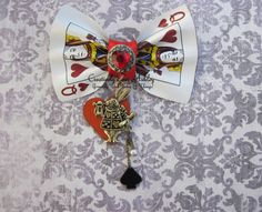Alice in Wonderland Queen of Hearts playing card hair clip by CreativelyEverAshley