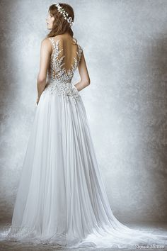 zuhair murad bridal fall 2015 wedding dress v neck neckline sleeveless leaf embroidery sheer bodice a line gown style manon back