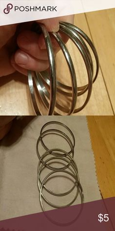 """A Set of 5 Stainless steel Bangles """"Steel By Design"""" Bangles  Fits small size hands Steel By Design Jewelry Bracelets"""